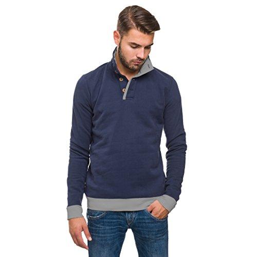 evermind® Herren Rugby Sweatshirt mit Stehkragen und Knopfleiste, innen gebürstet // GOTS zertifiziert // organic | fair | Bio-Baumwolle