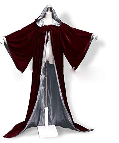 Halloween Kostüm Samt Hoodie Cape Cosplay Mittelalterliche Pagan Wicca Vampir Cape lange Weinrot mit Bell Sleeve