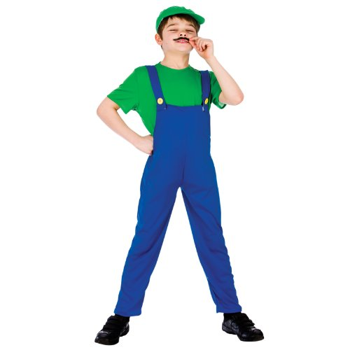 (Funny Plumber- Green (11-13) Fancy Dress Luigi Kids Costume)