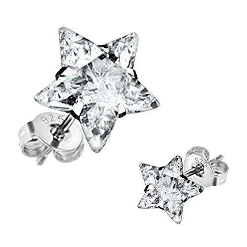 Orecchini da donna a forma di stella orecchini ManoaShark Set di 2 zirconi argento 925 viennagold toomly di cristallo trasparente bianco 8 mm