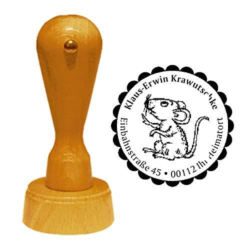 Stempel Adressstempel « MAUS 01 » Durchmesser ca. Ø 40 mm - mit persönlicher Adresse, Motiv und Zierrand - Tier Tiere Kleintier Nagetier Nager Mäuse -