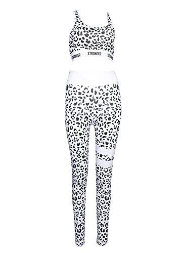 KINDOYO Femme Ensemble de Yoga Sportswear Top et Leggings Pantalon Léopard