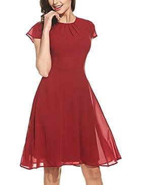 Zeagoo Damen Elegant Chiffonkleid Sommerkleid Partykleid Hochzeit Festliches Kleid A Linie Kurzarm Knielang