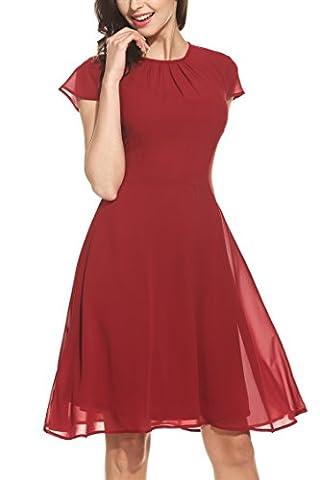 Zeagoo Damen Elegant Chiffonkleid Sommerkleid Partykleid Hochzeit Festliches Kleid A Linie Kurzarm Knielang Weinrot(A) XL