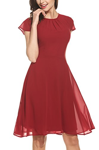 Zeagoo Damen Elegant Chiffonkleid Sommerkleid Partykleid Hochzeit Festliches Kleid A Linie Kurzarm Knielang Weinrot(A) XXL
