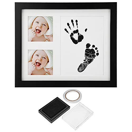 Yunnyp Baby Newborn Photo Frame,Three Grid Baby Handprint Footprint Wooden Photo Frame with Stamp Ink Pad Baby Decor Gift -