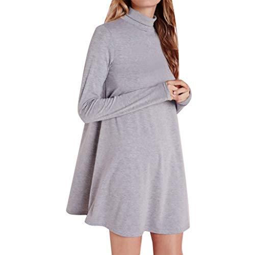 ShaDiao Damen Kleid, Frauen-Normallack-langes Hülsen-runder Ansatz-beiläufiges Kleid-Minitank-Kleid (Stricken Brautkleid)