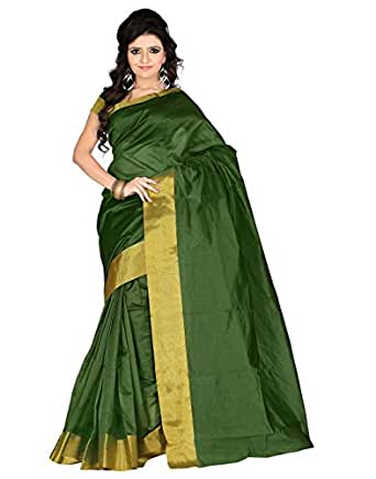 Roopkala Silks & Sarees Women's Poly Cotton With Blouse Piece (Sh-1311_Green)