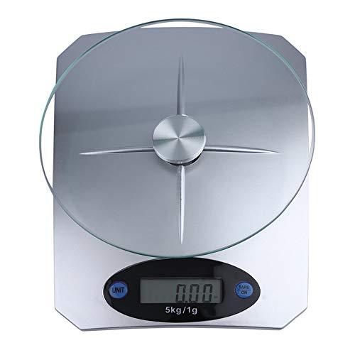 VCB 5Kg / 11lbs x 1g / 0,1 Unze Digitale Küchenwaage Glas Top Food Diet Scale Home - Silber - Glas-digital-skala