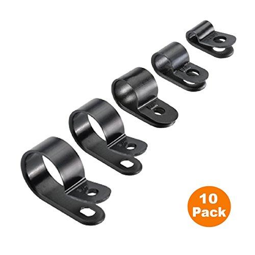 Preisvergleich Produktbild 10 x Schwarz Nylon Kunststoff P-Clips - Befestigungen für Conduit, Kabel, Schläuche und Sleeving [ 16mm ]