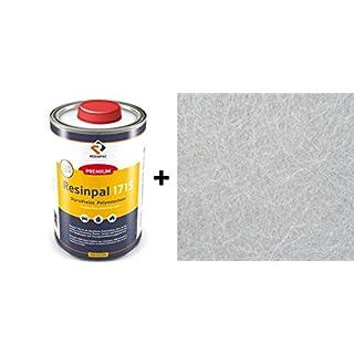 Komplettpaket-GFK: 1 Kg Polyesterharz Resinpal 1715 + 1 m² Glasfasermatte 300 g/m² | Zum Laminieren | Styrolvermindert |