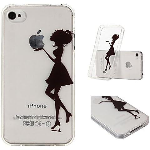 iPhone 4 / 4S Cover , YIGA Nero Sexy Donna Trasparente Silicone Cristallo Morbido TPU Case Custodia per Apple iPhone 4 / 4S