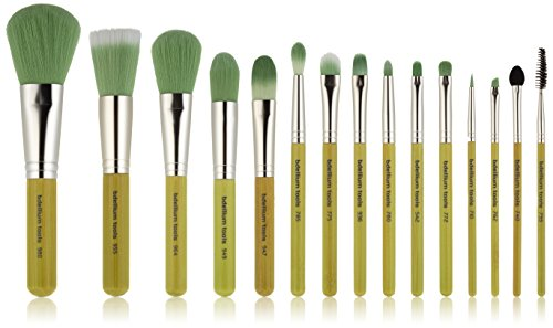 Bdellium Tools Professional Makeup Green Bambu Complete Brush Set with Roll Up Pouch Pack of 15