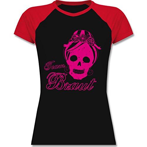 JGA Junggesellinnenabschied - Team Braut Totenkopf Vintage - zweifarbiges Baseballshirt / Raglan T-Shirt für Damen Schwarz/Rot