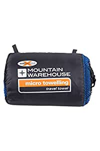 Mountain Warehouse Large Micro Towelling Travel Towel - 130x70cm - Light Gym Towel, Quick Drying Beach Towel, Absorbent, Soft Hand Towel - For Camping, Travelling Cobalt