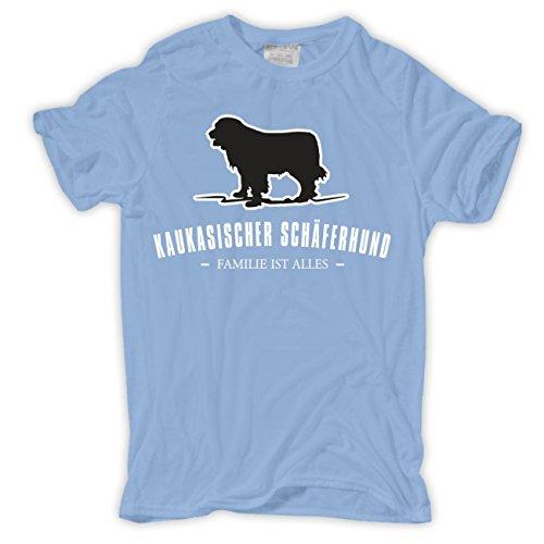 Männer und Herren T-Shirt Kaukasischer Schäferhund - Familie ist alles Größe S - 8XL Hellblau