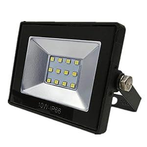 GCDN 10W Lámpara Ip65 Foco Profesional 220V Reflector inundación LED Resistente al Agua(10WLuz Blanca)