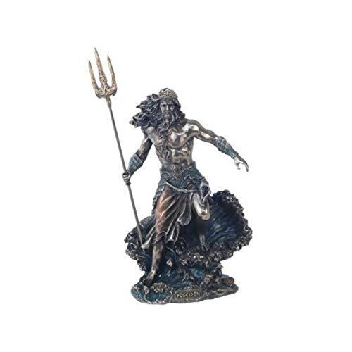 CAPRILO Figura Mitológica Decorativa de Resina Dios Griego Poseidón (Dios del Mar) Adornos y Esculturas. Decoración Hogar. Regalos Originales. 21 x 13 x 8.5 cm.