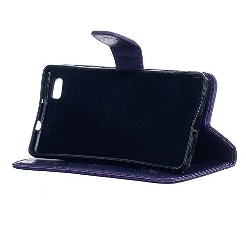 Etui Huawei P8 Lite , Anfire Attrape Reve et Feuille Motif Peint Mode PU Cuir Étui Coque pour Huawei P8 Lite Huawei ALE-L21 (5.0 pouces) Housse de Protection Luxe Style Livre Pochette Étui Folio Rabat Violet