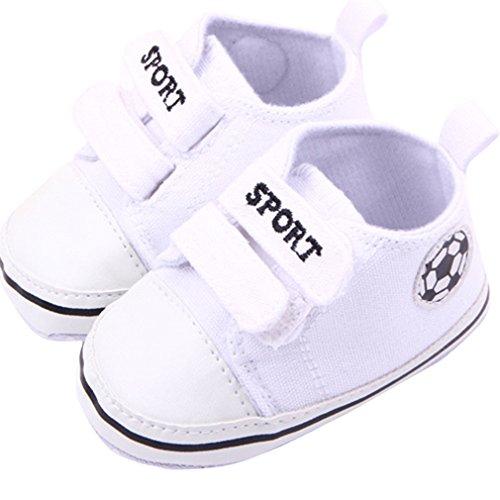 Bigood Fussball Stil Baby Junge Krabbelschuhe Lauflernschuhe Baby Schuh Weiß