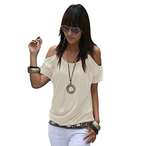 Mississhop Japan Style Damen Top T - Shirt Bluse Longshirt Tunika Tanktop Oberteil NATA Creme M - Creme Spitze Rock