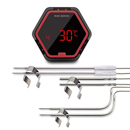 Inkbird Barbeque Fleisch Thermometer Digitale Bluetooth BBQ Raucher Funk-Grillthermometer Timer mit Temperaturfühlern für Ofen Kochen Outdoor Grill (IBT-6X+6 Temperaturfühler) - Barbeque-grill