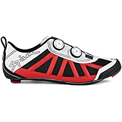 Spiuk Pragma Triathlon - Zapatillas unisex, color blanco / rojo, talla 47