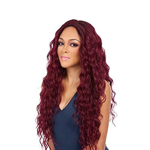 Filles Longue Cheveux Perruque,Blé Chaud Longue Frisé Du Vin Rouge Cheveux, Naturel À La Recherche Mode Coiffure Du Quotidien Cosplay