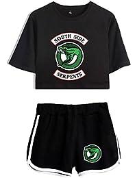 SERAPHY Riverdale Ensemble Crop Top T,Shirts et Shorts Suit pour Les Filles  et Les