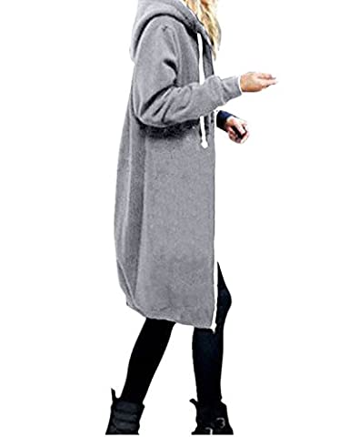 StyleDome Women's Long Sleeve Hooded Hoodies Jumper Warm Cardigan Zip Up Jacket Sweatshirt Oversized Long Coat Grey UK 14