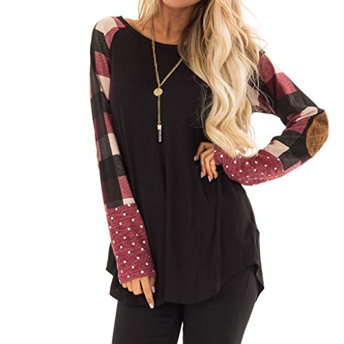Ausverkauf ❤ T-Shirt ❤ LEEDY Damen Kariert Nähen Polka Dot Rundhals Bluse Tops Oberteile Sweatshirt Tunika Shirt