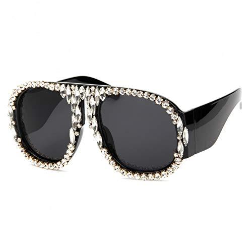 Taiyangcheng Polarisierte Sonnenbrille Mode Sonnenbrillen Marke Frau Katzenaugen Sonnenbrille Strass Sonnenbrille Übergroße Sonnenbrille Retro Shades,klar