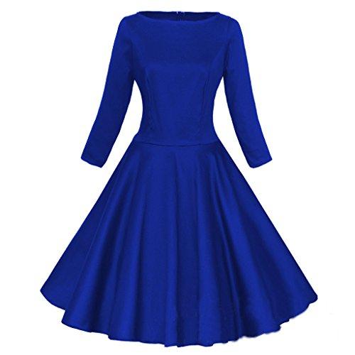 Eyekepper Robe Femme demoiselle - audrey hepburn 3/4 manches rockabilly - robe des annees 50 Bleu