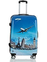 Valise avec coque rigide de voyage bagage trolley à 4 roulettes 360° policarbonate ABS léger et motif BB