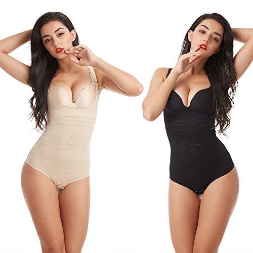 Wirezoll Damen Shapewear, Figurformender Body Bauch Weg Bodysuit mit Haken, Schwarz+beige, XL (Form Bauch)