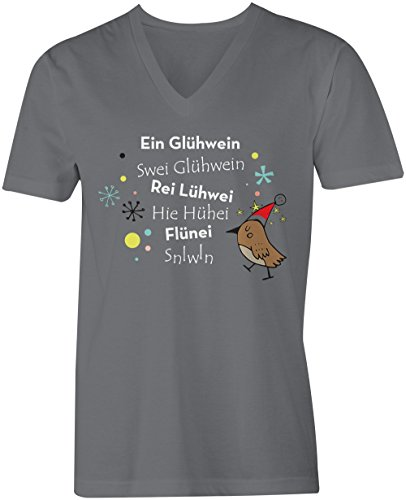 Ein Gluehwein ★ V-Neck T-Shirt Männer-Herren ★ hochwertig bedruckt mit lustigem Spruch ★ Die perfekte Geschenk-Idee (06) dunkelgrau