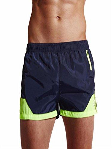 Leey uomo boxer brief il pacchetto include: 1 pc mens swimwear t-shirt in cotone basic righe delle donne allineate raddoppiano le serie costumi da bagno tankini (s, marina militare)