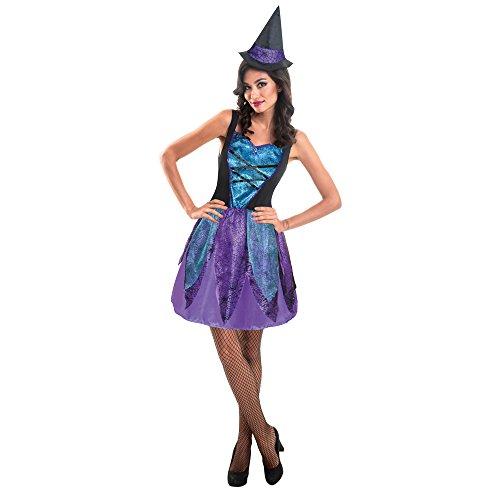 Hexe Erwachsene Halloween-Kostüm mit Mini Clip Hat (Erwachsenen Kostüm Spider)