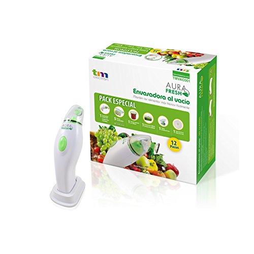 Aura Fresh Sistema de envasado al vacío compacto con alto poder de succión para conservar alimentos - Set completo de 12 piezas.