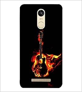 PrintDhaba Guitar on Fire D-1242 Back Case Cover for XIAOMI REDMI NOTE 3 PRO (Multi-Coloured)