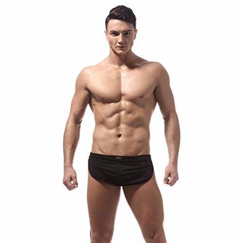 TUDUZ Herren Low-Rise Boxershorts Boxer Briefs Trunks Unterwäsche Shorts Bulge Pouch Unterhosen (Farbe wählbar) (Schwarz, M(Taille:66-73cm)) -