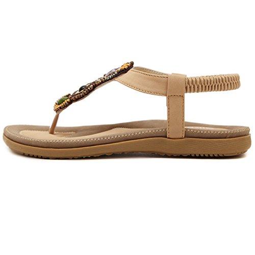 dqq femmes de perles vintage T Sangle String Sandal abricot