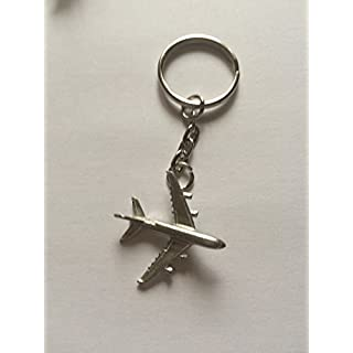 Airbus A380 C64 Aircraft Jet Airliner on a Split Ring Keyring english pewter emblem