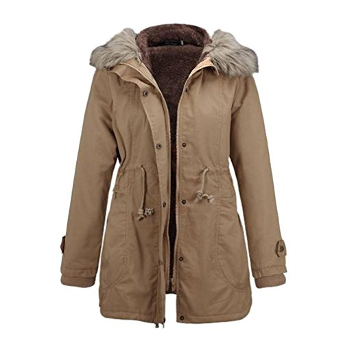Damen Kleidung BURFLY Frauen Jacke Mit Kapuze Plus Size Slim-Fit Warme Mantel Langer Mantel Winter Jacken (XL, Khaki) (Lieblings-khaki)