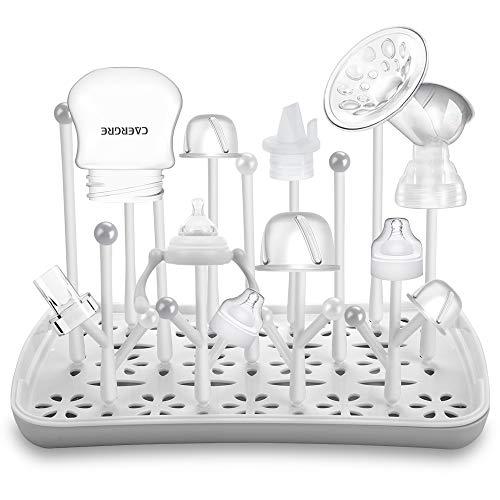 Trockenständer Babyflaschen, Abtropfgestell für Babyflaschen, Flaschen, grauSaugern, Bechern und Babyflaschen Zubehör, BPA-frei, Grau -