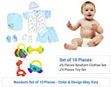 10 Piece Pack - New Born Baby Gift Set for 0-6 Month Baby (Clothes and Toys) (10 Pieces Pack)