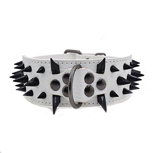 Hundehalsband Nietenhalsband Schutz Halsbänder aus PU Leder mit Schwarzen Spitz Stachel Nieten, Handarbeit Kräftig, 5cm Breit 38-64cm Verstellbar, Für Große Hunde wie Bulldog Mastiff Pitbull, Weiß XXL