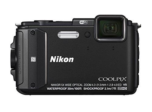 Nikon Coolpix AW130 Fotocamera Digitale Compatta, 16 Megapixel, Zoom 5X, 6400 ISO, OLED 3', Full HD, Subacquea, Antiurto, Antigelo, GPS, Wi-Fi NFC, Nero [Versione EU]