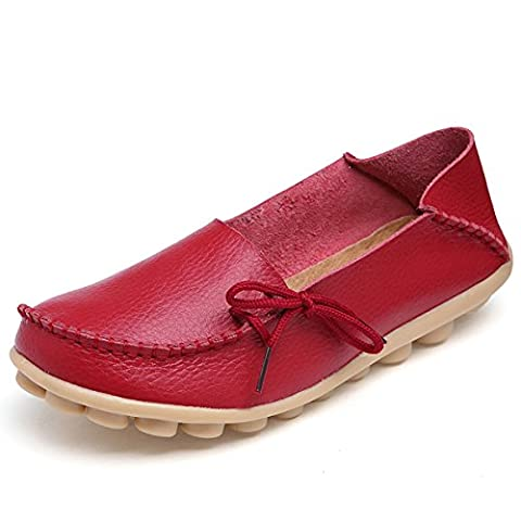 Fisca Women's Causal Belt Moccasins Loafer Flat Shoes Red UK 6