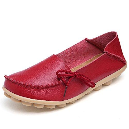 fisca Femme Les Ceinture Mocassins Flâneur Chaussures plates Rouge - rouge